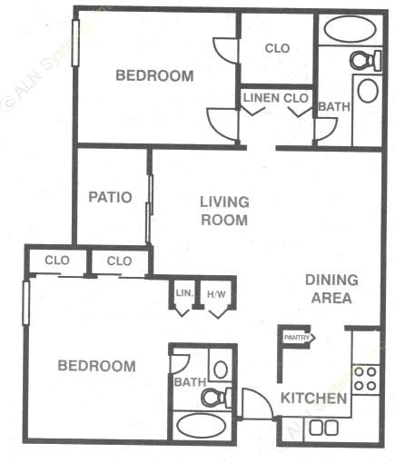 1,060 sq. ft. B-1 floor plan
