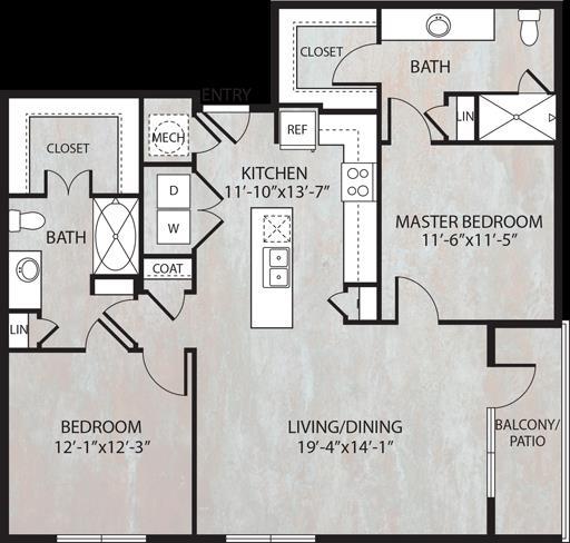 1,159 sq. ft. B3 floor plan