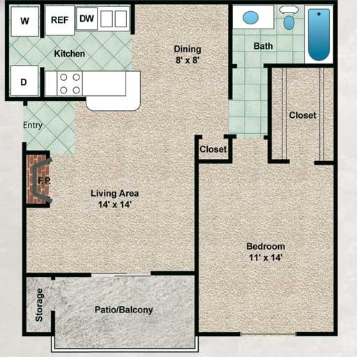 701 sq. ft. Evergreen floor plan