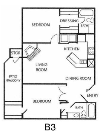 1,067 sq. ft. B3 floor plan
