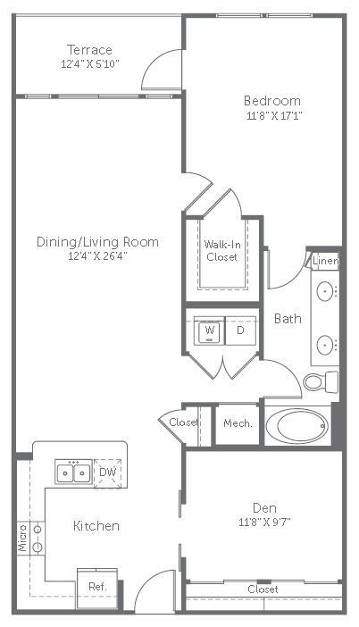 1,040 sq. ft. A6 floor plan
