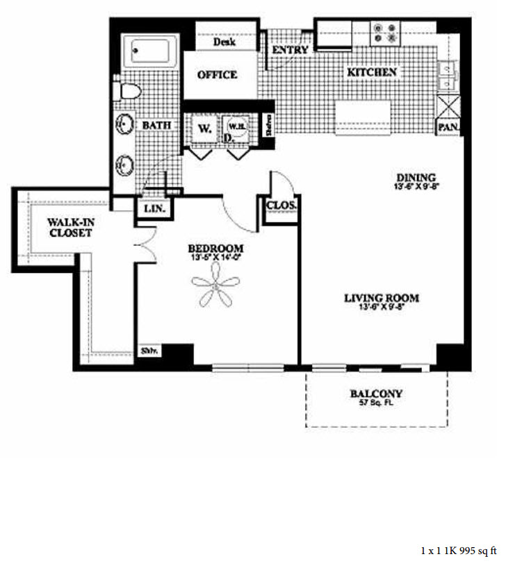 995 sq. ft. 1K floor plan