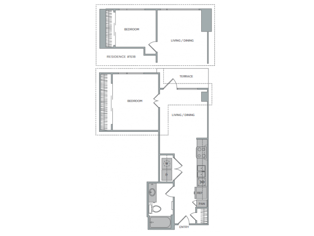 598 sq. ft. 1C floor plan