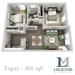 800 sq. ft. Topaz floor plan