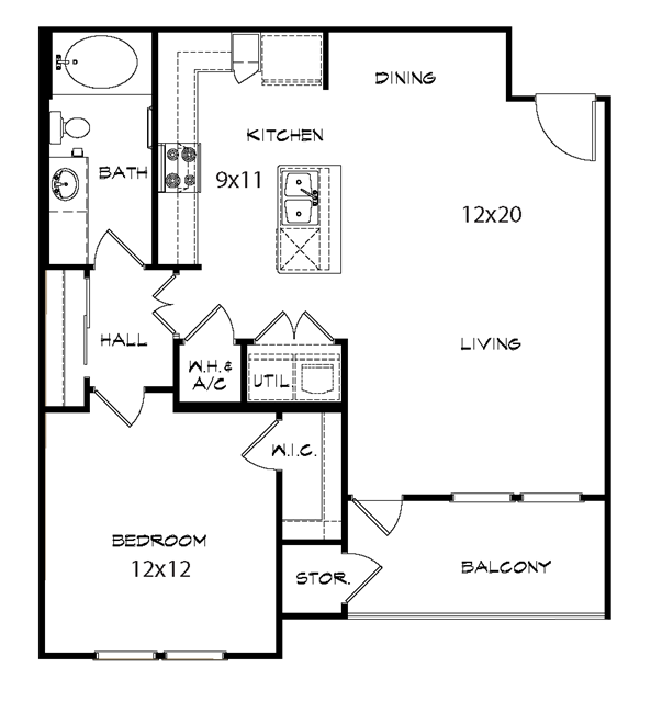 877 sq. ft. Imperial floor plan