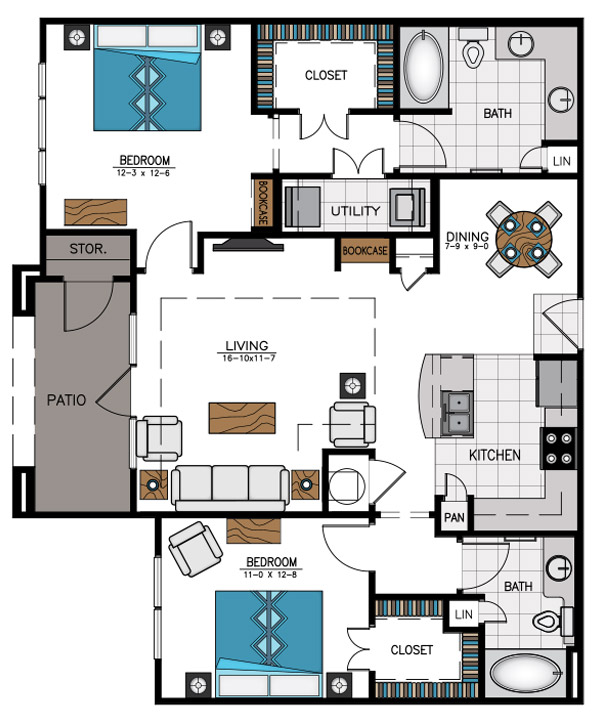 1,201 sq. ft. B4A floor plan