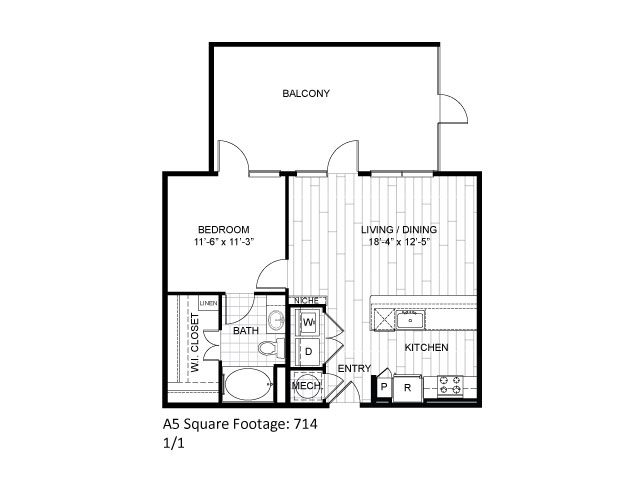 714 sq. ft. A5 floor plan