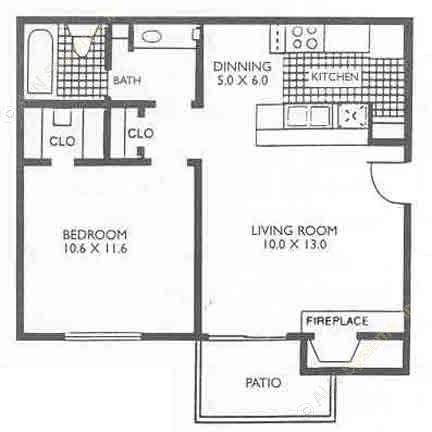 550 sq. ft. A1B floor plan