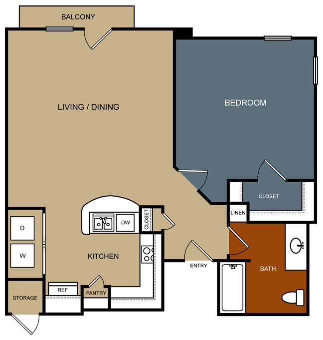 838 sq. ft. A7/50% floor plan