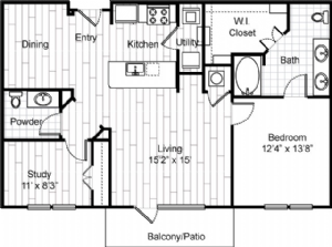 1,108 sq. ft. A10 floor plan