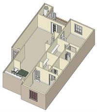 976 sq. ft. B3 ROOMMATE floor plan