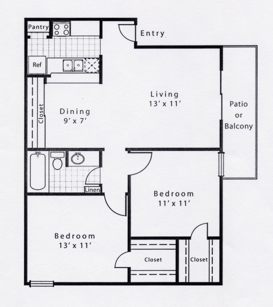 843 sq. ft. B1E floor plan
