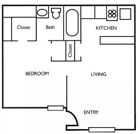 413 sq. ft. A floor plan