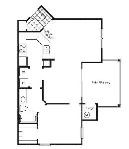 747 sq. ft. A2 floor plan