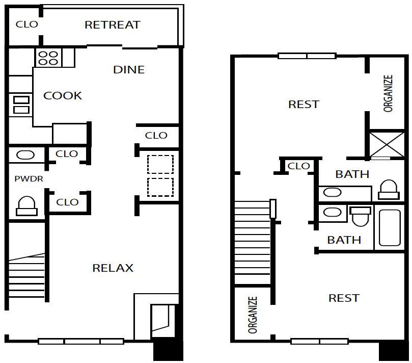 1,069 sq. ft. B5 floor plan