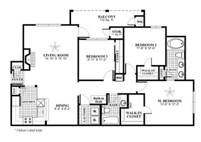 1,307 sq. ft. C1 floor plan