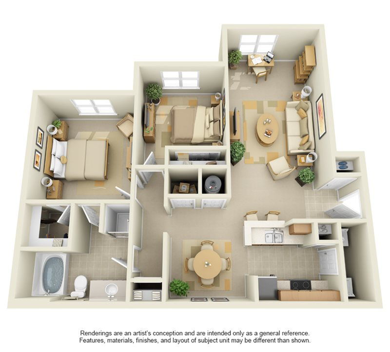 1,082 sq. ft. B1 floor plan