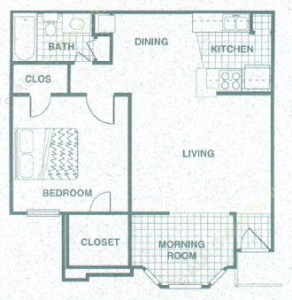 711 sq. ft. A2MR floor plan