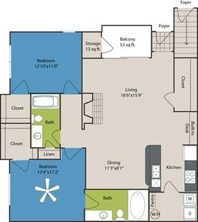 1,119 sq. ft. B4 floor plan