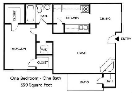 650 sq. ft. Birch floor plan