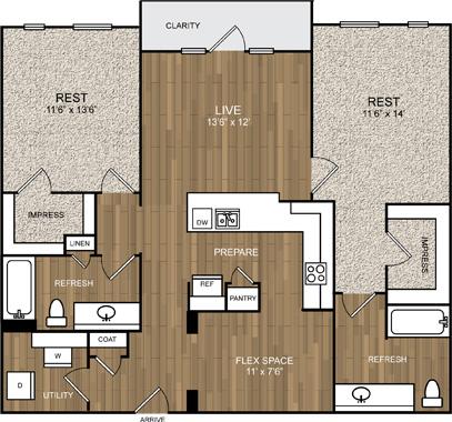 1,171 sq. ft. B3 floor plan
