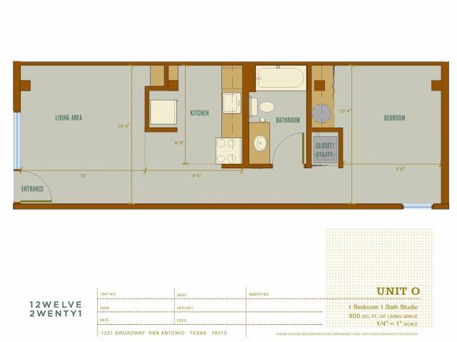 600 sq. ft. O floor plan