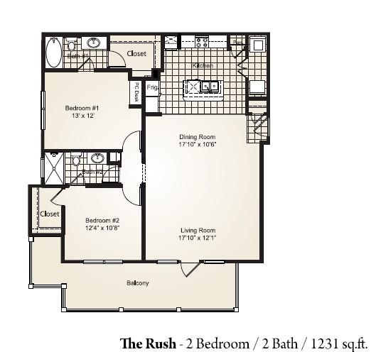 1,231 sq. ft. RUSH floor plan