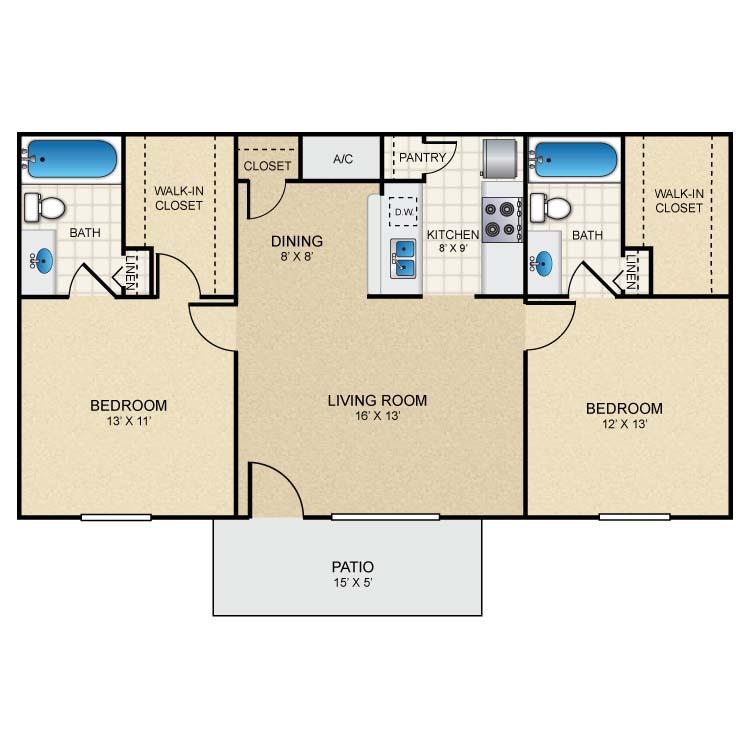 885 sq. ft. B2 floor plan