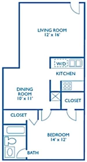 760 sq. ft. Chalice floor plan