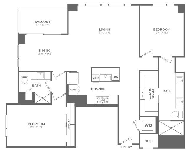 1,468 sq. ft. TB1 floor plan