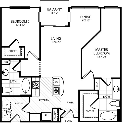 1,114 sq. ft. B3 floor plan
