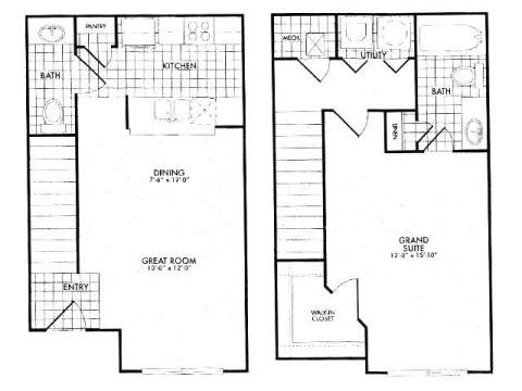 795 sq. ft. 60% floor plan