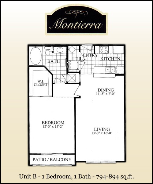 894 sq. ft. B3 floor plan