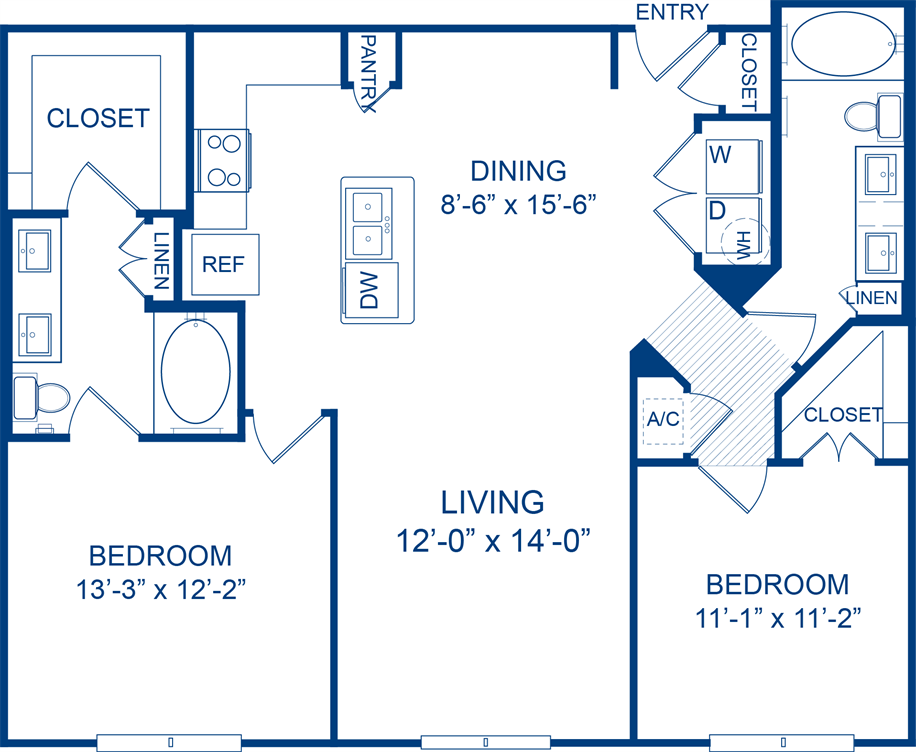 1,146 sq. ft. Perfumeballs floor plan