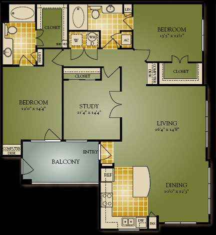 1,419 sq. ft. C1 floor plan