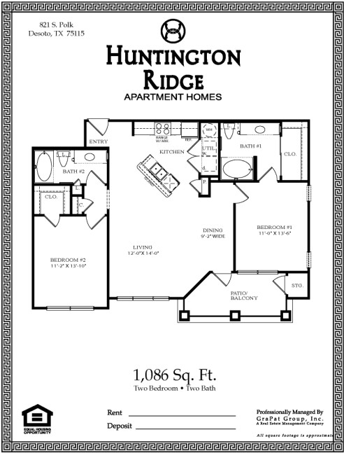 1,086 sq. ft. B1G floor plan