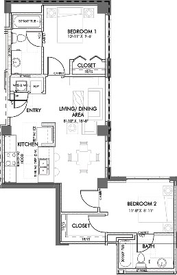 859 sq. ft. Jennings.3 60% floor plan