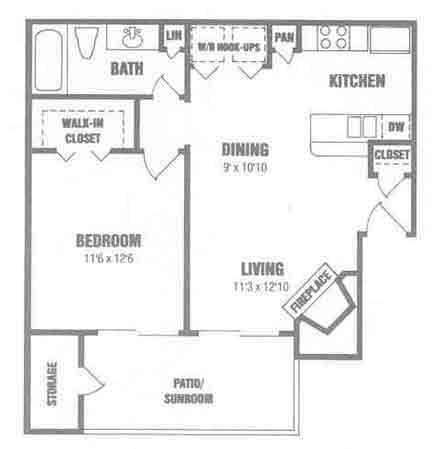 715 sq. ft. A1 w/Den floor plan