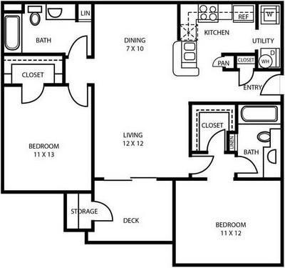 987 sq. ft. B1 floor plan