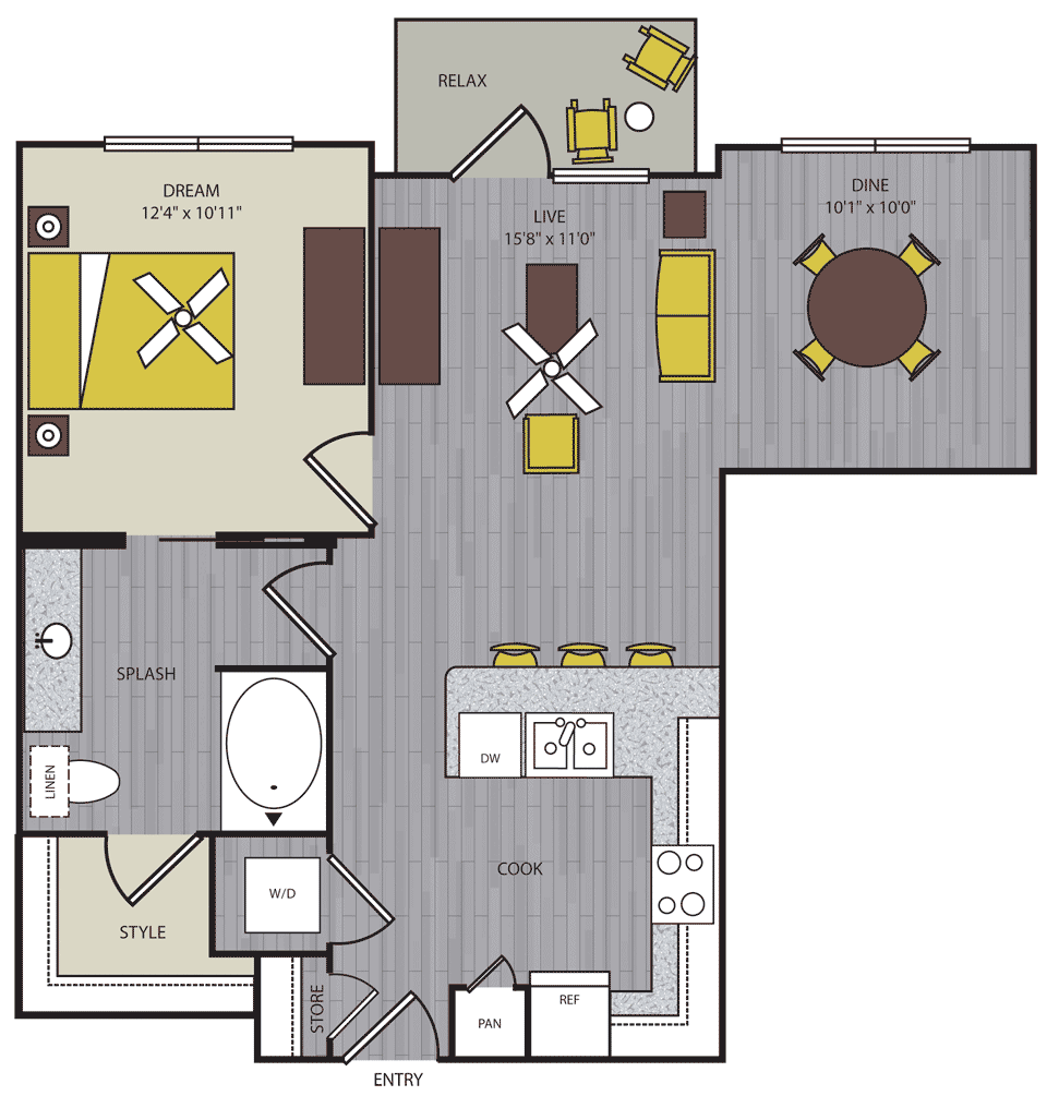 758 sq. ft. to 781 sq. ft. A11 floor plan