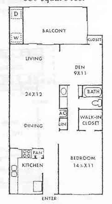 850 sq. ft. Waterway floor plan