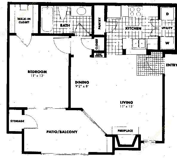 641 sq. ft. A1 floor plan