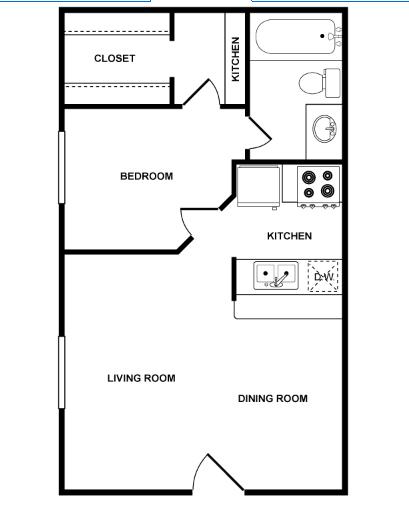 443 sq. ft. Juno floor plan