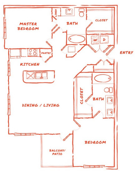 1,193 sq. ft. B3 floor plan