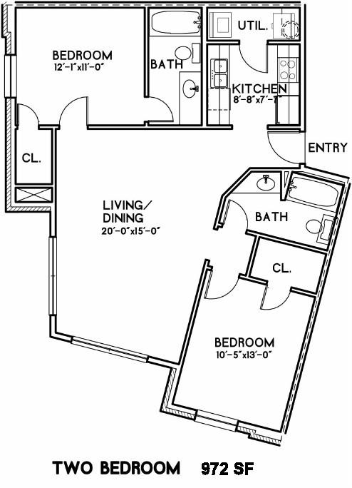 972 sq. ft. Roosevelt floor plan