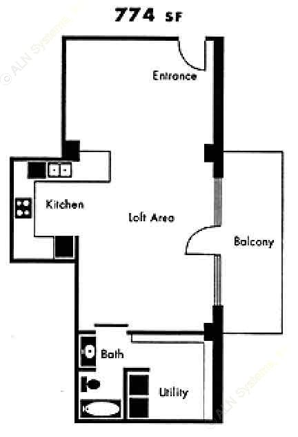 774 sq. ft. A11 floor plan