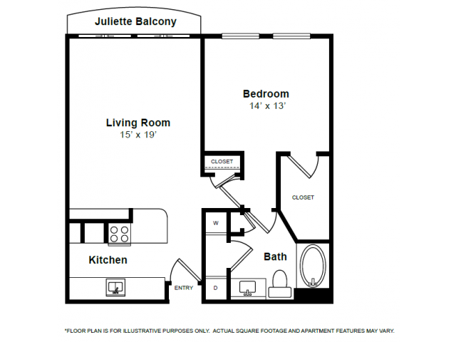 843 sq. ft. A1 floor plan