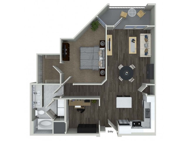 890 sq. ft. A8D floor plan