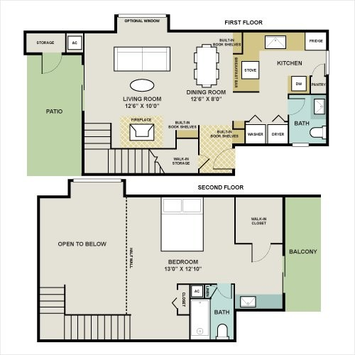 900 sq. ft. WEST-B floor plan