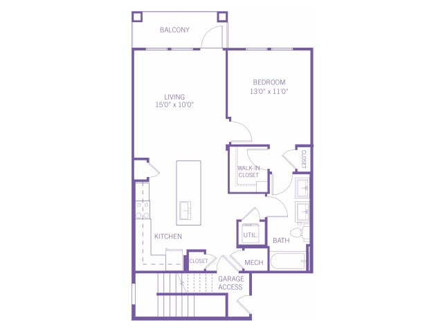 885 sq. ft. A3G floor plan